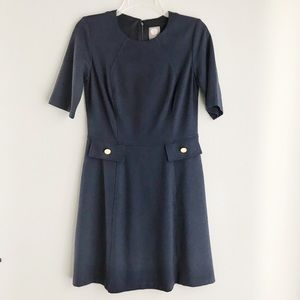 Vince Camuto Navy Dress with Gold Buttons (size 6)
